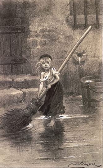 Illustration of Cosette - for Les Misérables, Victor Hugo. <br />by Émile Bayard