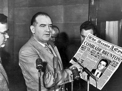 Sen Joseph McCarthy alerts public to the Red Menace aka Mayor Brunton