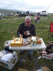 Dad tying flies on the banks of Birch Creek Memorial Day Weekend 2013.