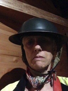 Wearing a WW I helmet at the Imperial War Museum
