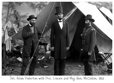 Det. Allan Pinkerton w Lincoln and McClellan 1863