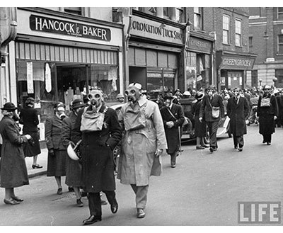 WWII Gas Mask Drill in London