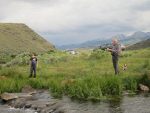 Dad and Tommy fishing Birch Creek in 2011.
