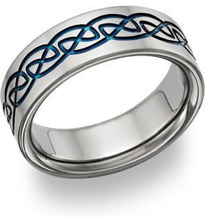 Celtic Blue Titanium Wedding Band | ApplesofGold.com