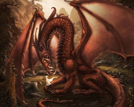 Loving my Red Dragon - scales, dragon, red, fantasy, red dragon, wings, woman, female