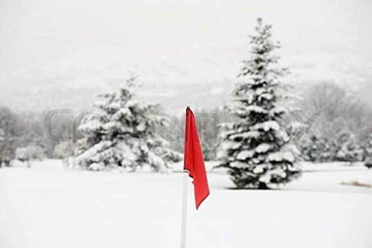 Laurence Mouton/AltoPress/Maxppp ; Red flag on snow-covered golf ...