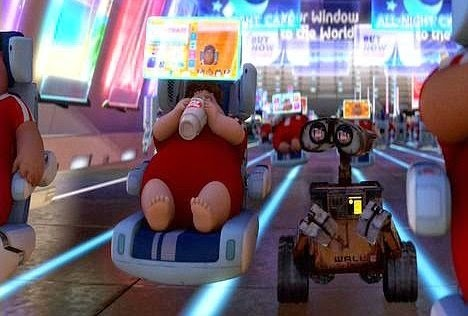 human characters in Wall-e, zooming down a hall in their cushy chairs