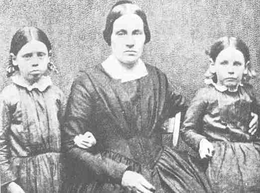 Mary Ann Brown with Annie (left) and Sarah (right) about 1851. Library of Congress<br />