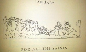 Illustration for the month January in the 'Julius Work Calendar'