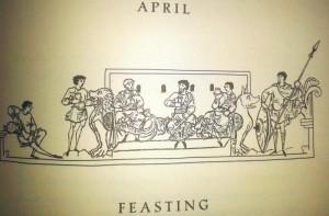 Illustration for the month April in the 'Julius Work Calendar'