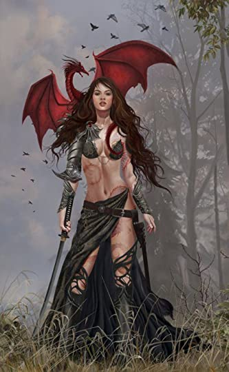 Woman and red dragon.: Woman and red dragon.
