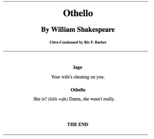 a summary of othello by william shakespeare Plot summary of and introduction to william shakespeare's play othello, with links to online texts, digital images, and other resources.