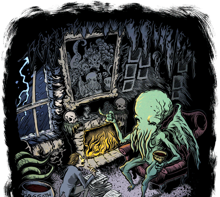 Cthulhu and Whateley, illustrated by Brian Elig.png