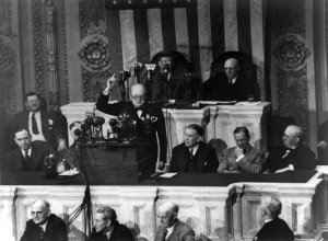 Churchill addresses a joint session of Congress, 1943