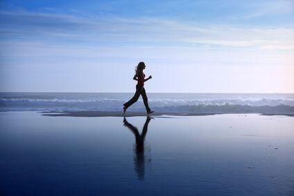 jogging on the beach:
