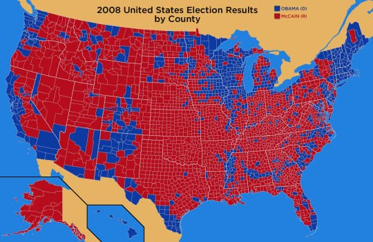 obama handily won the popular vote but there s a whole lot more red from coast to coast isn t there not saying all or most of the red areas were
