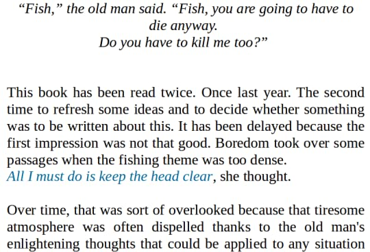 the old man and the sea by ernest hemingway description