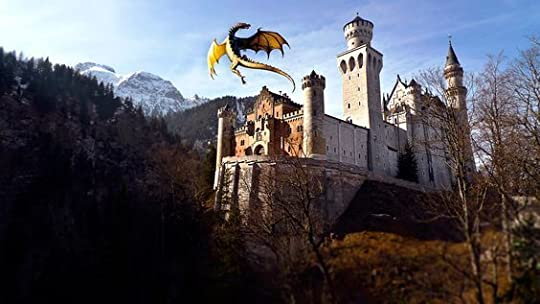 dragon over castle: