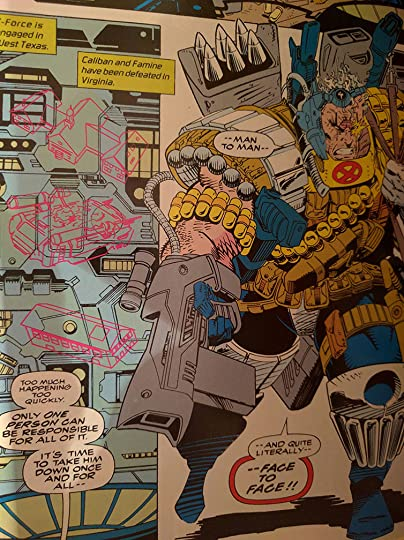 This is a picture of the two panels from X-Force #16 in which Cable says
