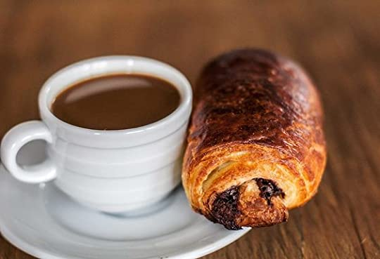 chocolate croissant and coffee: