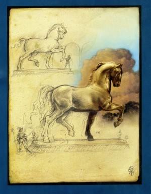Leonardo's sketch for The Sforza Monument