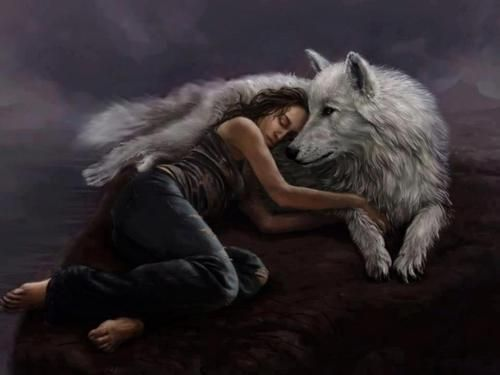 wolf and woman: