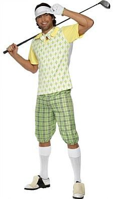 Man in funny golf outfit: