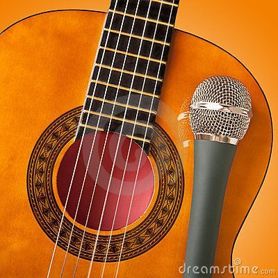 Microphone and guitar: