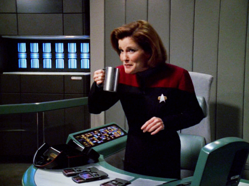 Janeway loves coffee