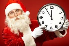Santa with a clock: