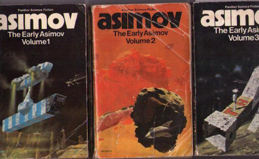 Covers of the Panther editions of <i>The Early Asimov</i>, with typically anonymous Chriss Foss spaceships.