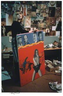 Pauline Boty with Scandal 63, taken by Michael Ward