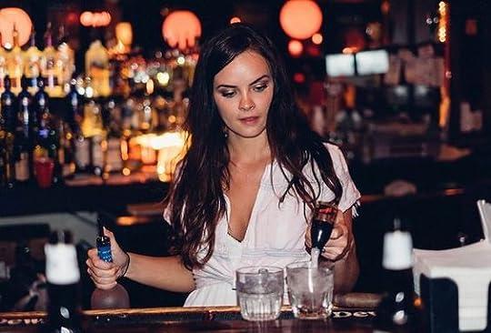 female bartender: