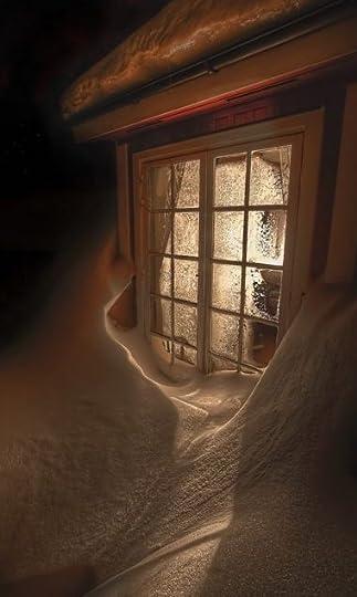 Evening snowdrift aglow: