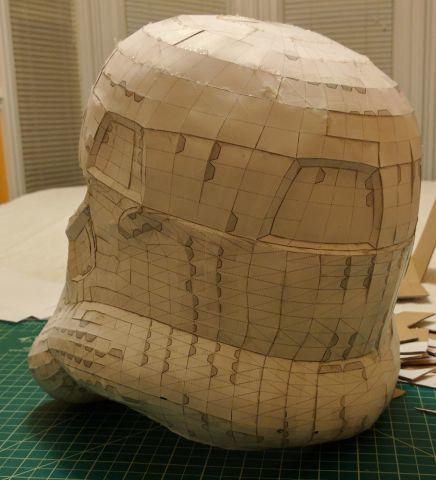 Full-resolution paper model mold base, rear 3/4
