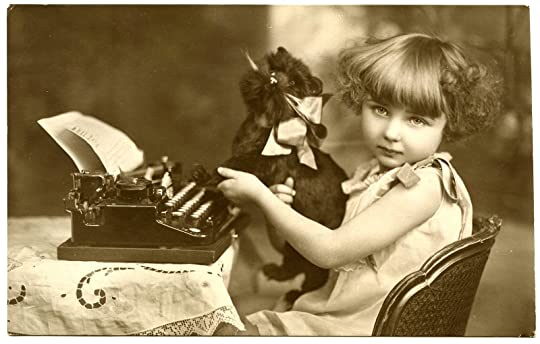 Vintage photo of a litle girl with her cat