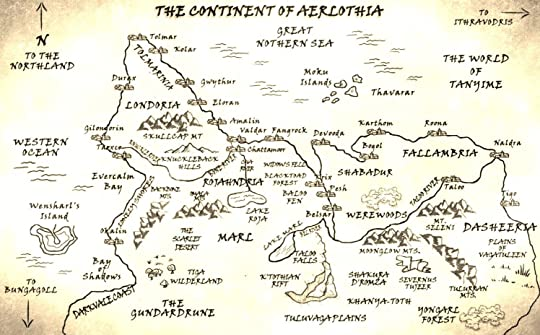Erika Szabo's Map of continent Aerlothia / World of Tanyime