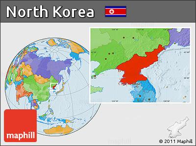 Political Location Map of North Korea
