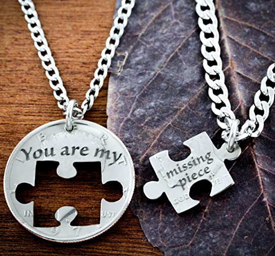 Puzzle Piece Couples Necklaces, You are my missing piece, Hand Cut Coin