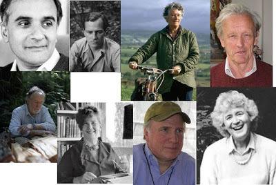 (Clockwise from top left- Pico Iyer, Patrick Leigh Fermor, Dervla Murphy,  Colin Thubron, Jan Morris, Ian Frazier, Freya Stark, Barry Lopez)