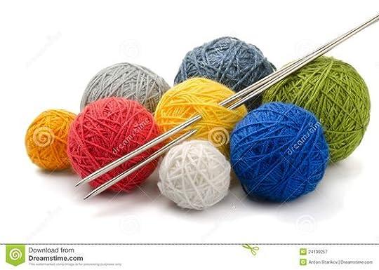 knitting needles and yarn: