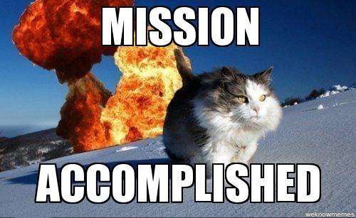 mission accomplished boom