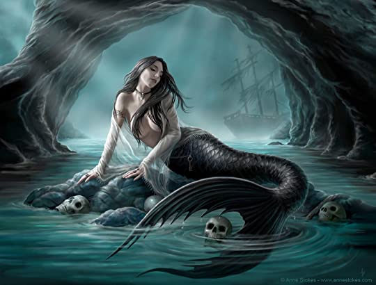 Anne Stokes' Siren lounging on a rock with skulls