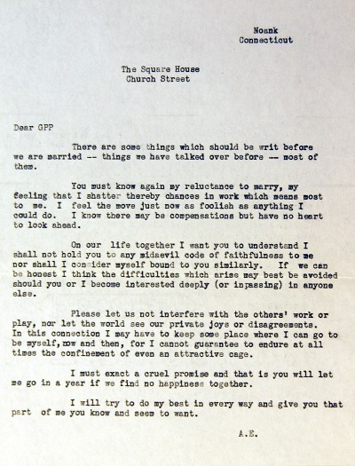 Amelia Earhart's Letter to George Putnam