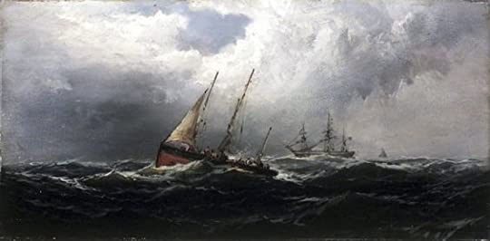 wind blowing ship on the ocean