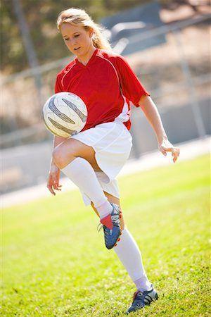 woman playing futball