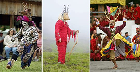 Ceremonial deer dancers in the Mayan, Portuguese, and Bhutan traditions