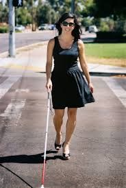 blind woman with cane