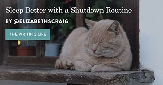 Sleeping orange cat on the right with the post title, 'Sleep Better with a Shutdown Routine' superimposed on the left.