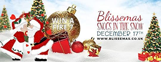 Blissemas 2017 Snogs in the Snow graphic with baubles in the snow, and Santa and Mrs Claus kissing